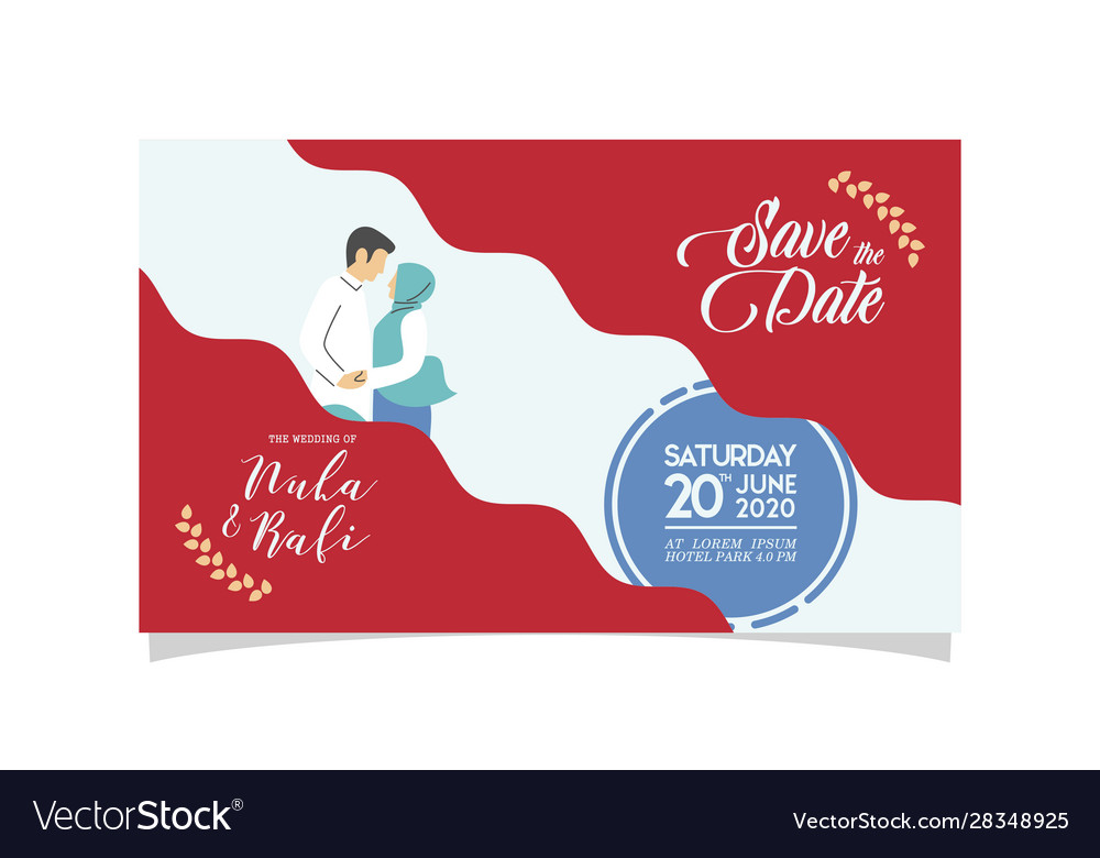 Wedding Invitation With Muslim Couple Flat