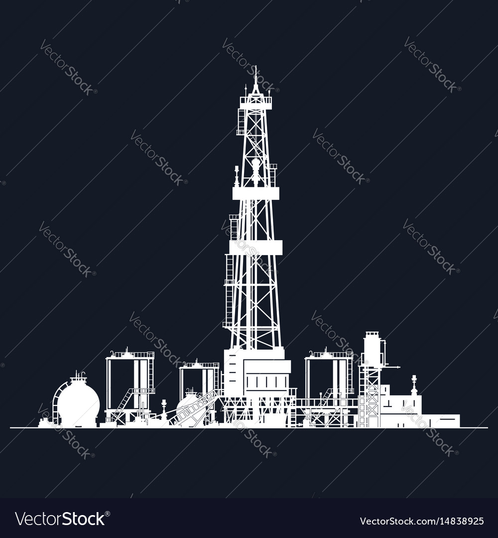 White silhouette drilling rig