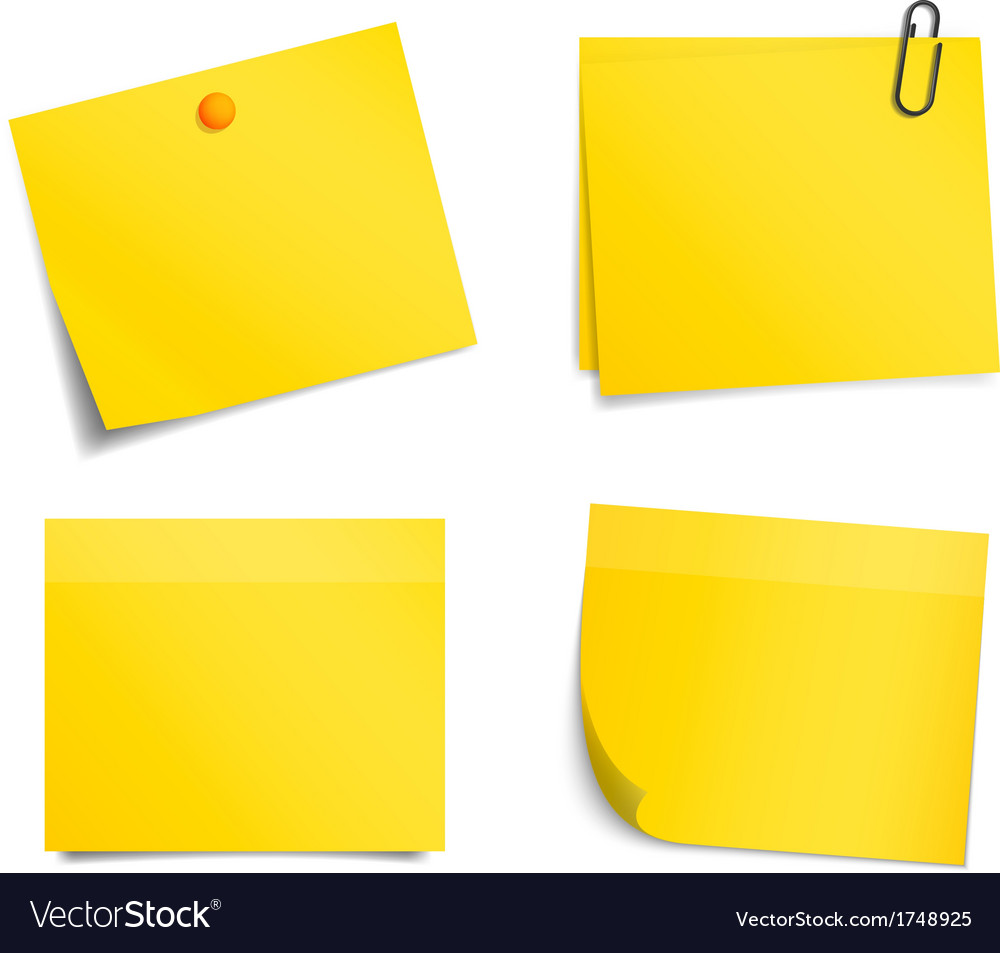 Yellow notice stickers on white background vector image