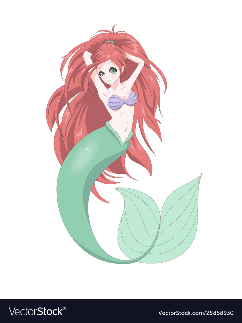 Anime manga cute mermaid print