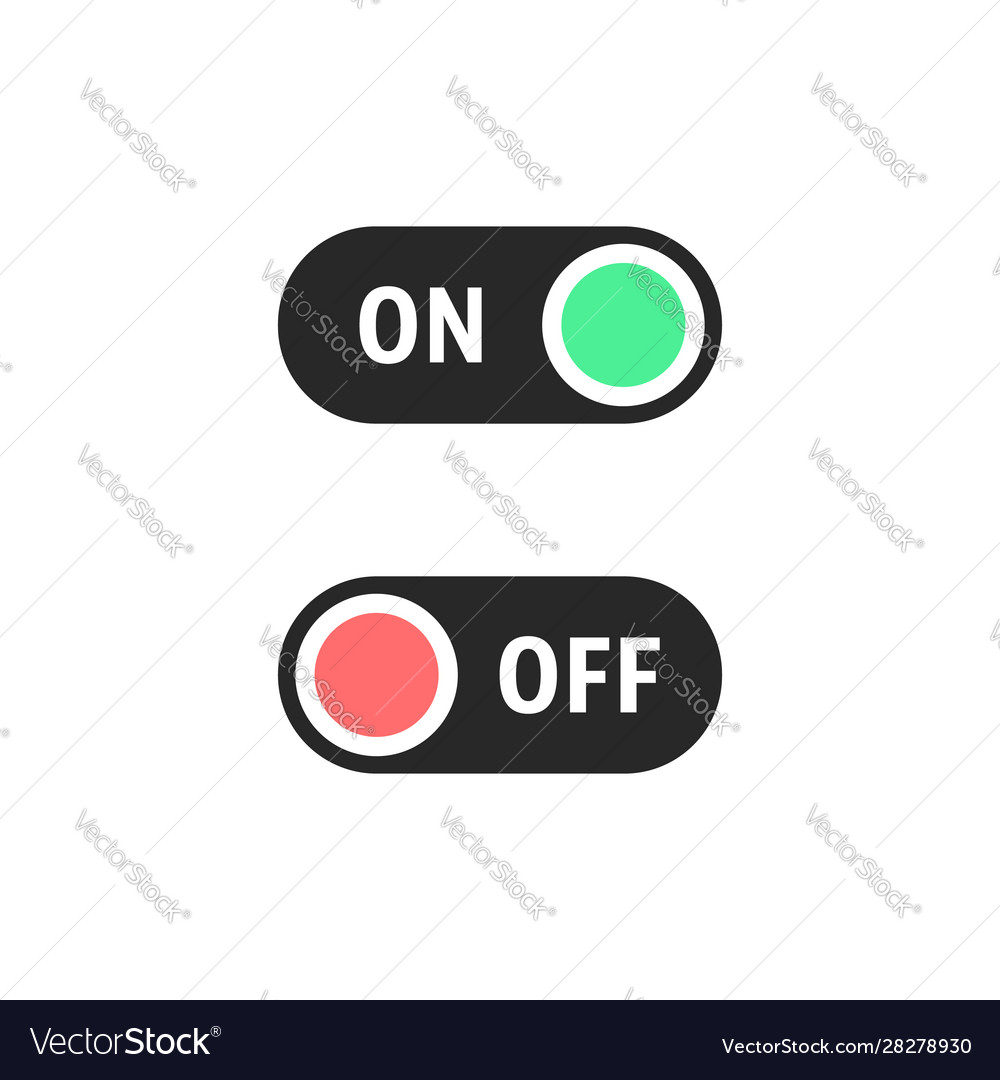 Black on and off switches buttons