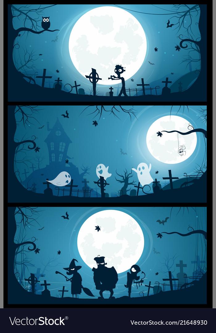 Halloween banners with big full moon moon