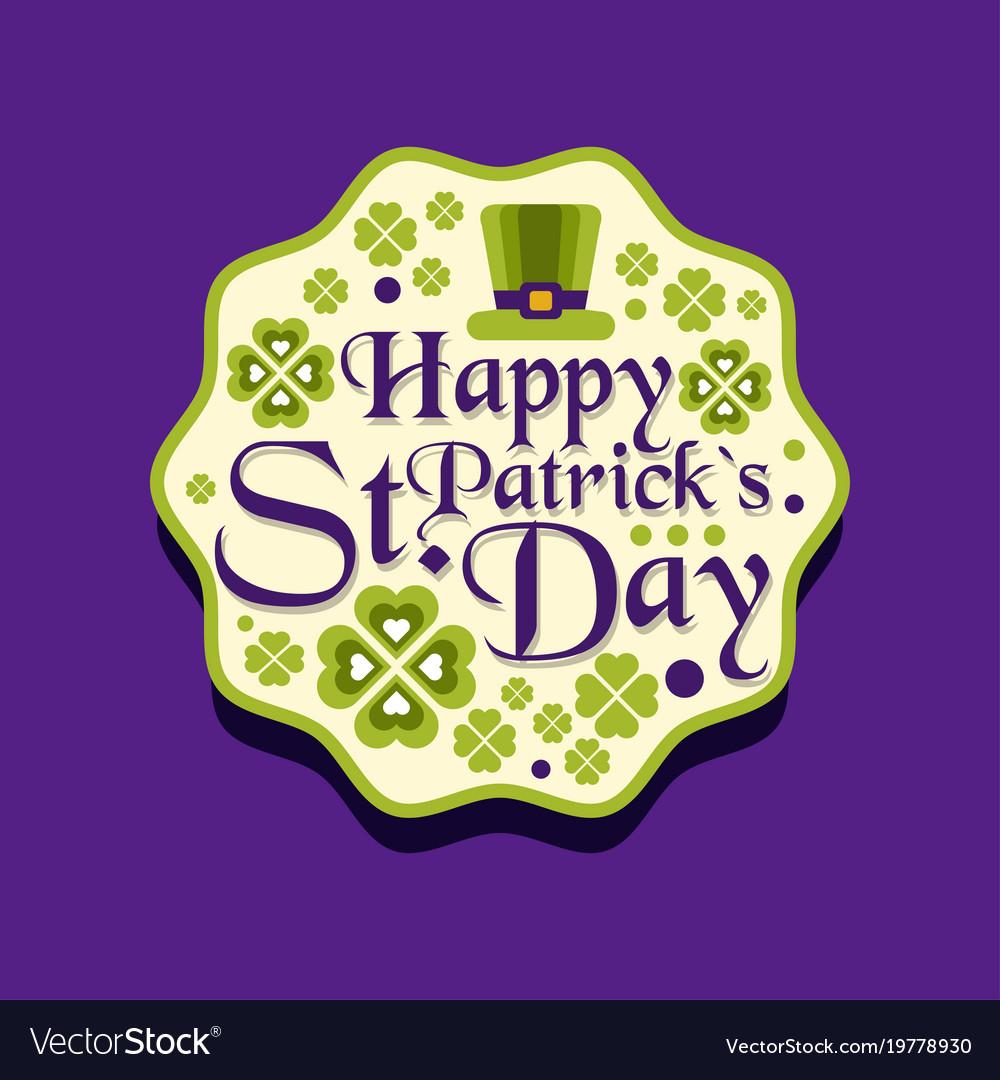 Happy saint patrick s day greeting card label