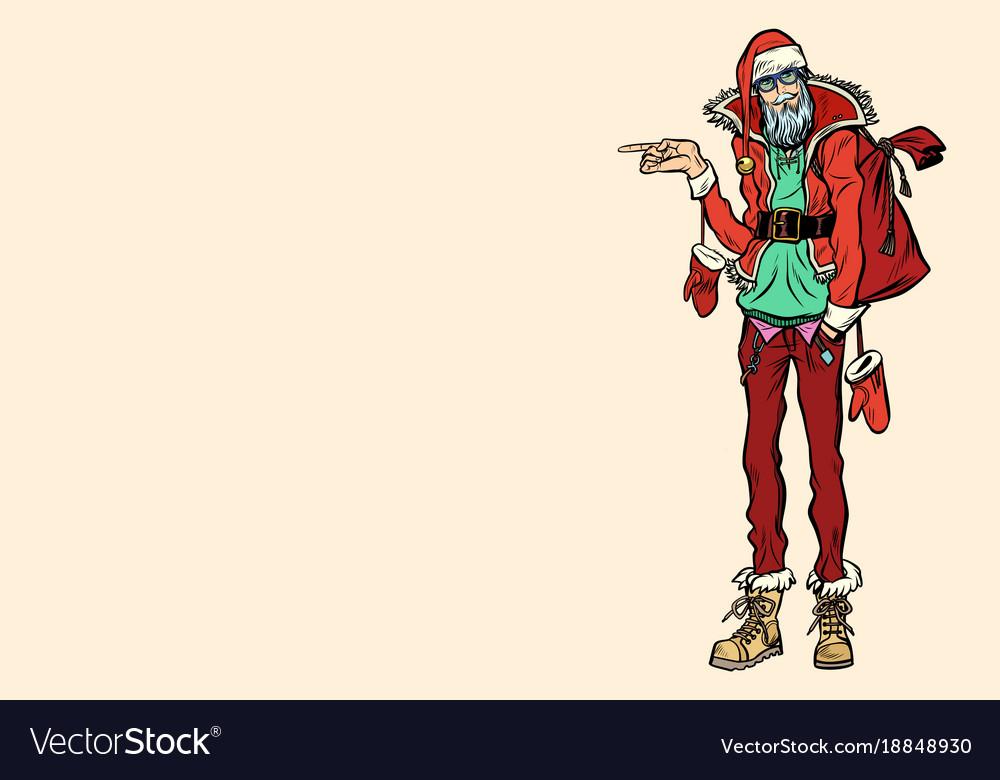 Hipster santa claus pointing sideways
