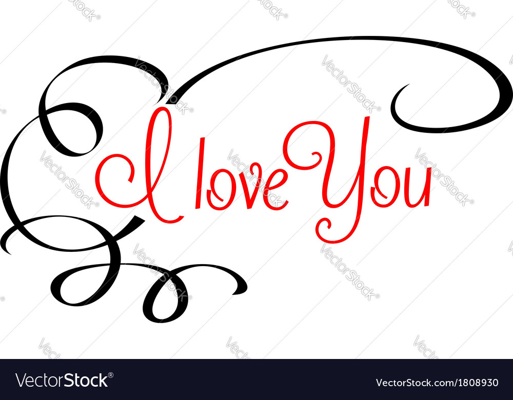 I Love You header with calligraphic elements