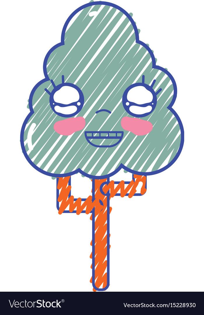 Kawaii cute happy tree ecology