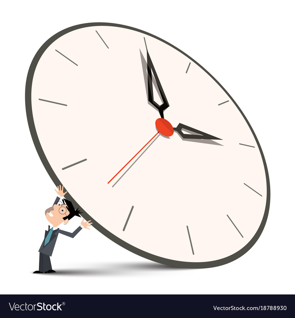 Man holding big clock vector image