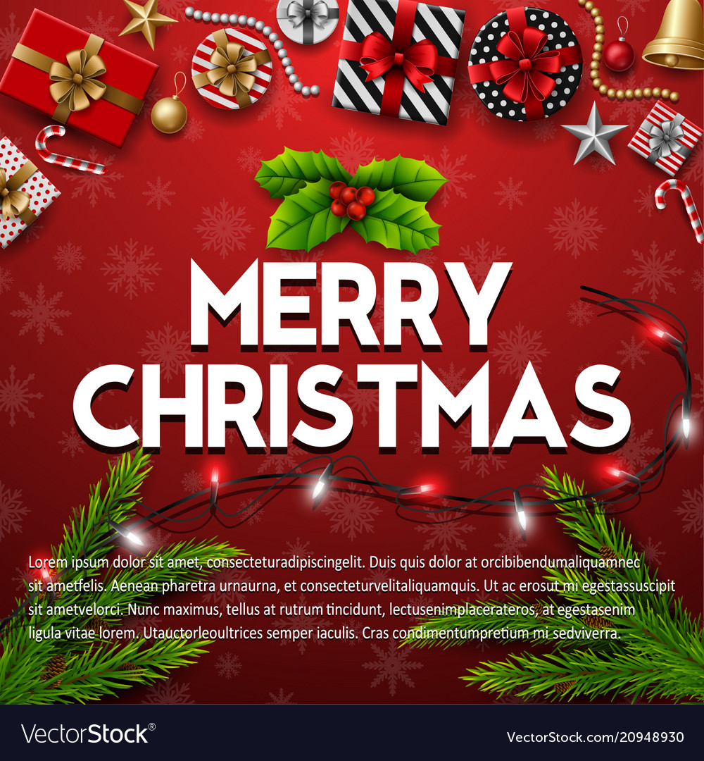 Merry christmas background with christmas elements vector image