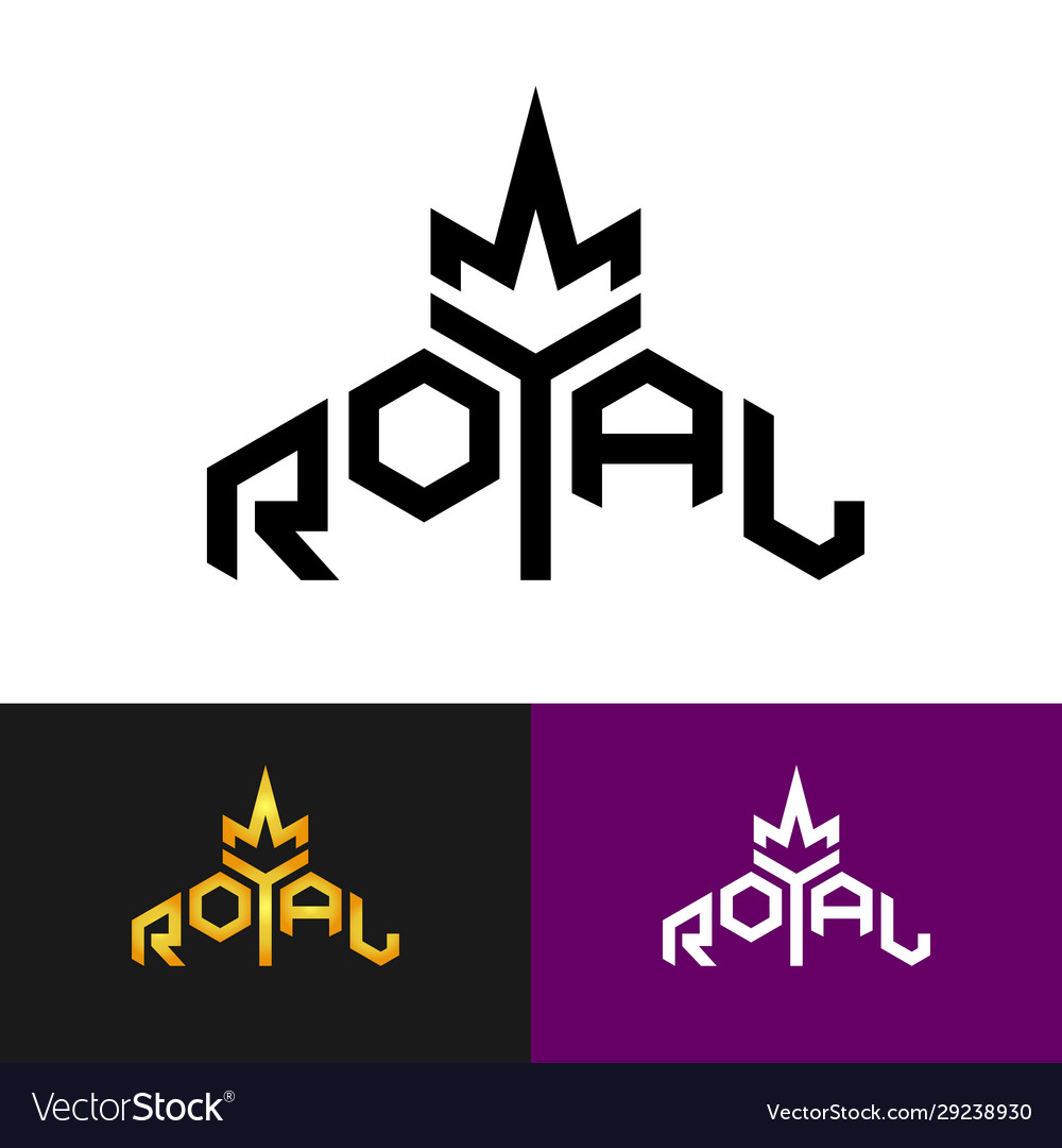Royal text logo with crown symbol word