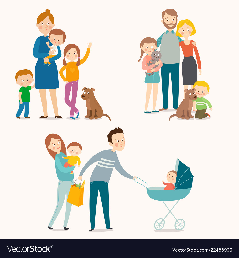 Set of happy families with kids and pets