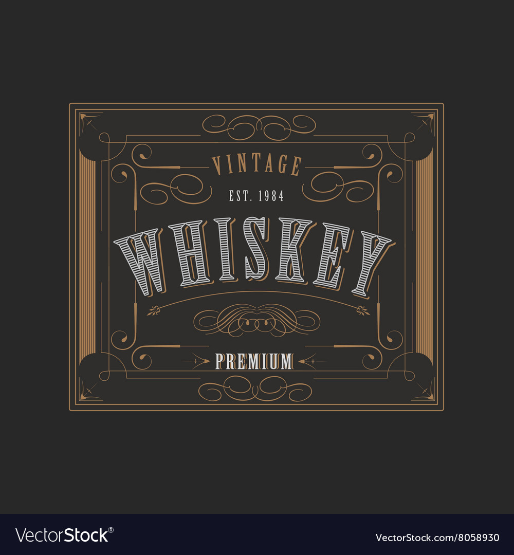 Western Design Template For Whiskey Label Vector Image
