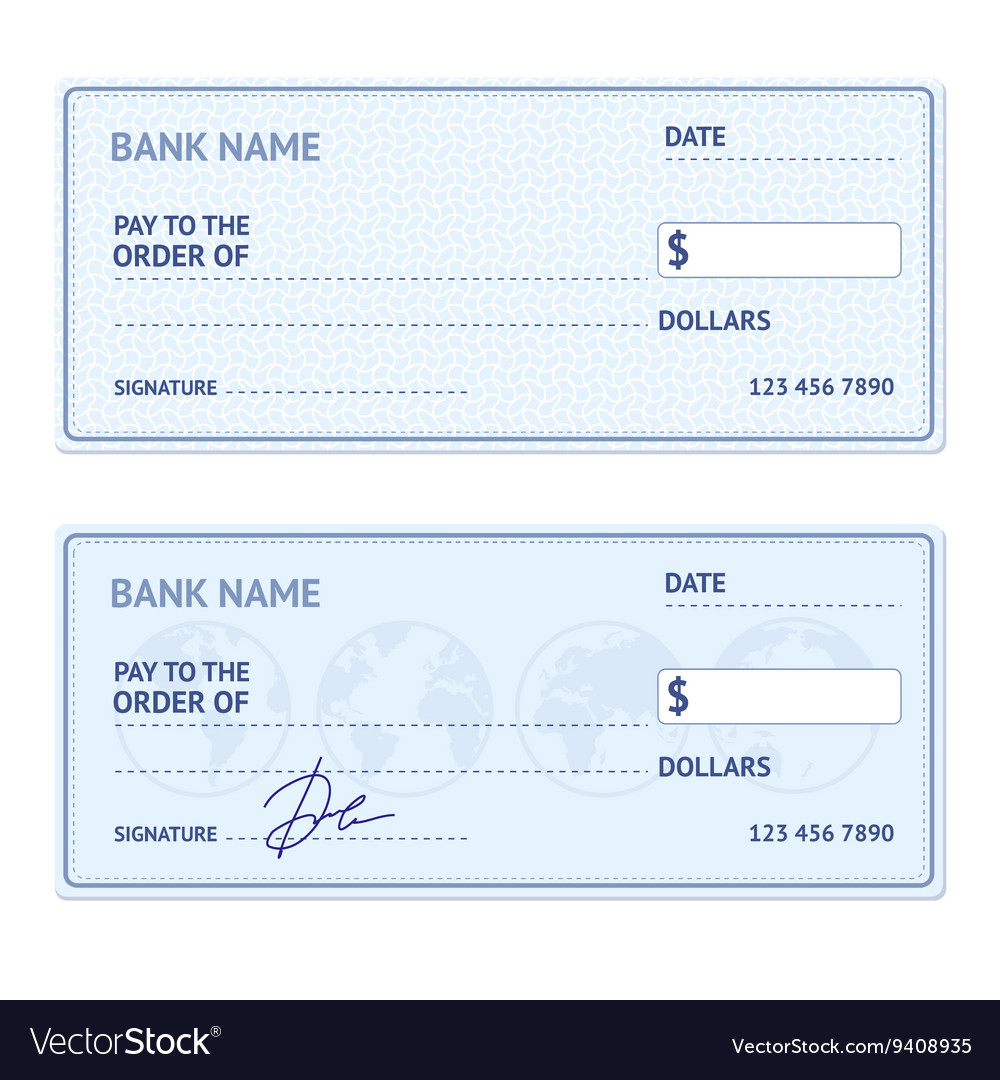 bank check template set royalty free vector image