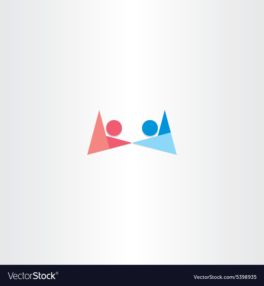 Boy and girl holding hands symbol abstract logo vector image