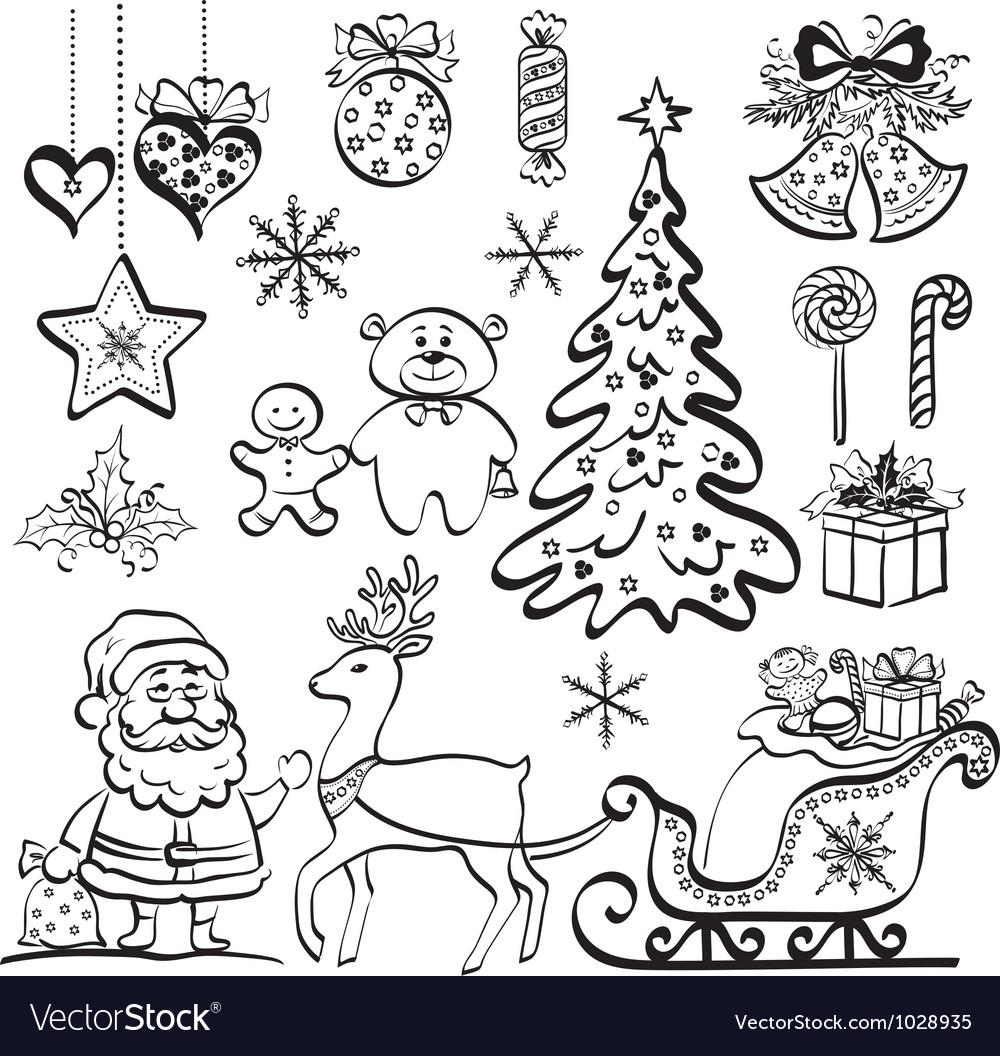 Черно белые новогодние картинки для распечатки маленькие из вк
