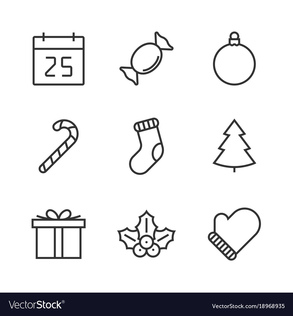 Christmas line icon vector
