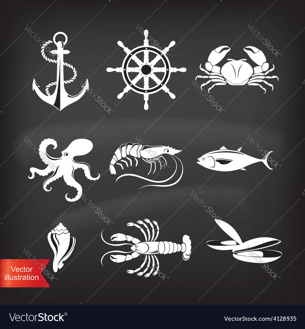 Crab lobster fish octopus Set of seafood icons