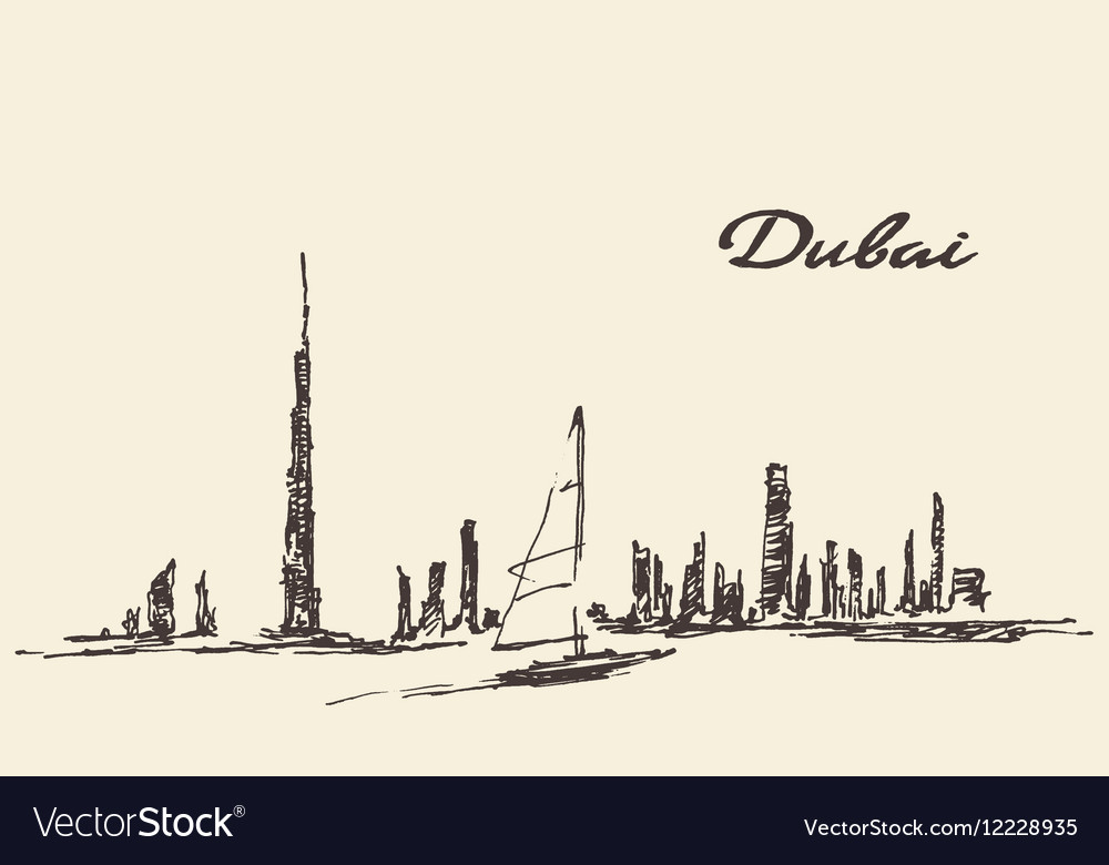 Dubai skyline silhouette drawn vector image