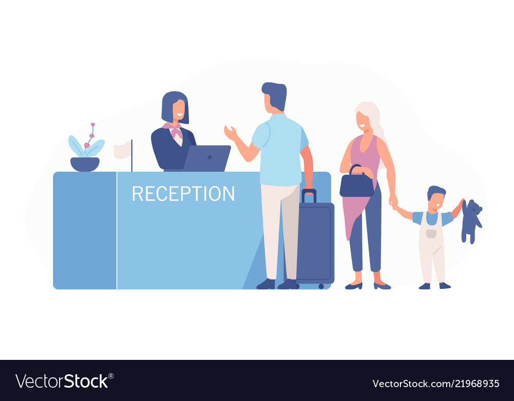 Family standing at airport check-in counter or