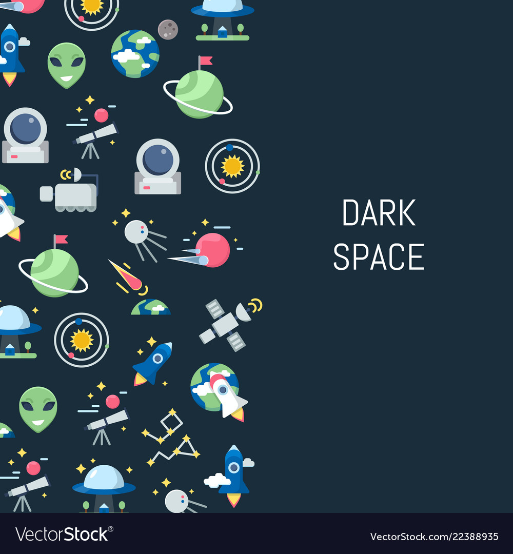 Flat space icons background with place