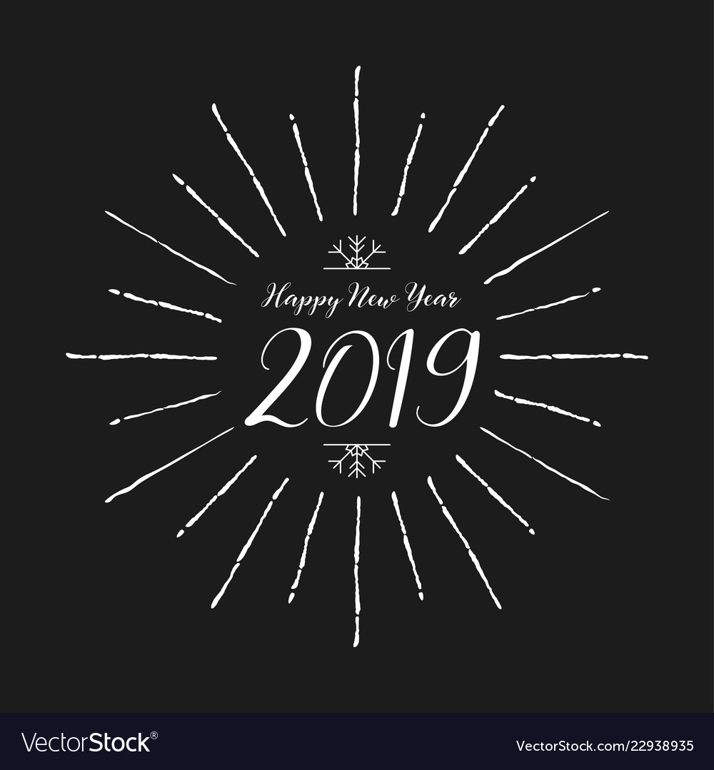 Happy new year 2019 lettering design and