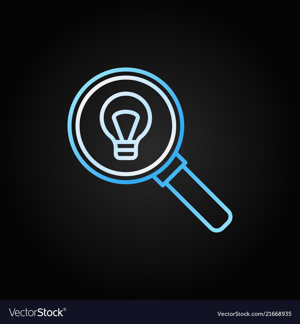Light bulb inside magnifier outline icon or