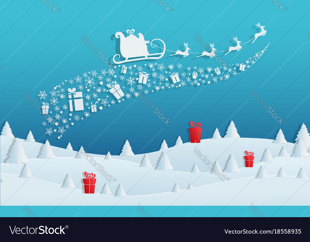 Paper art concept of christmas with santa claus