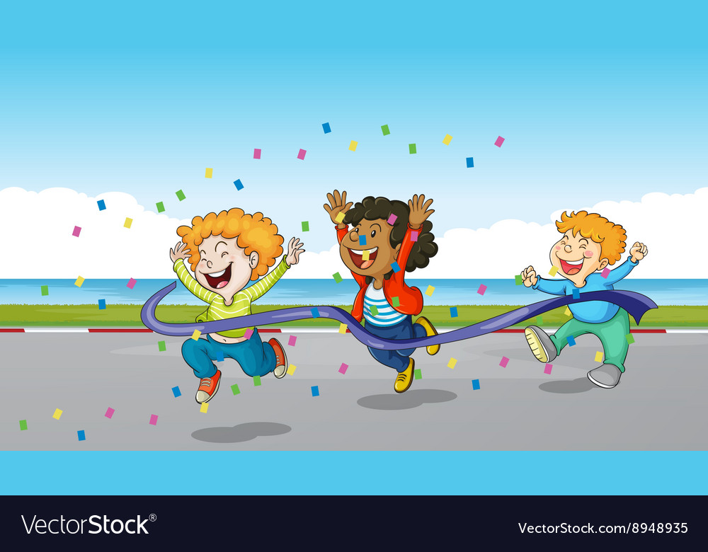 Three boys running through finish line vector image