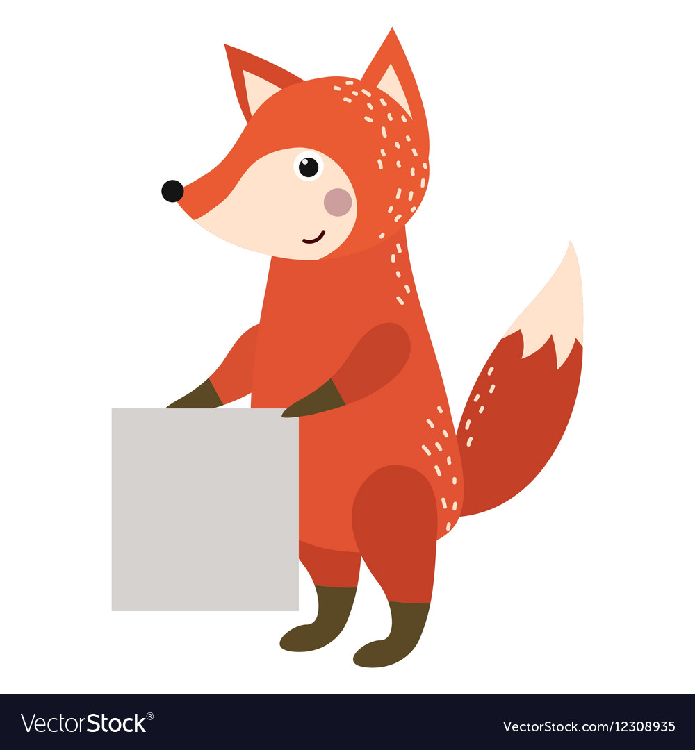 Wild animal fox strike with clean plate board