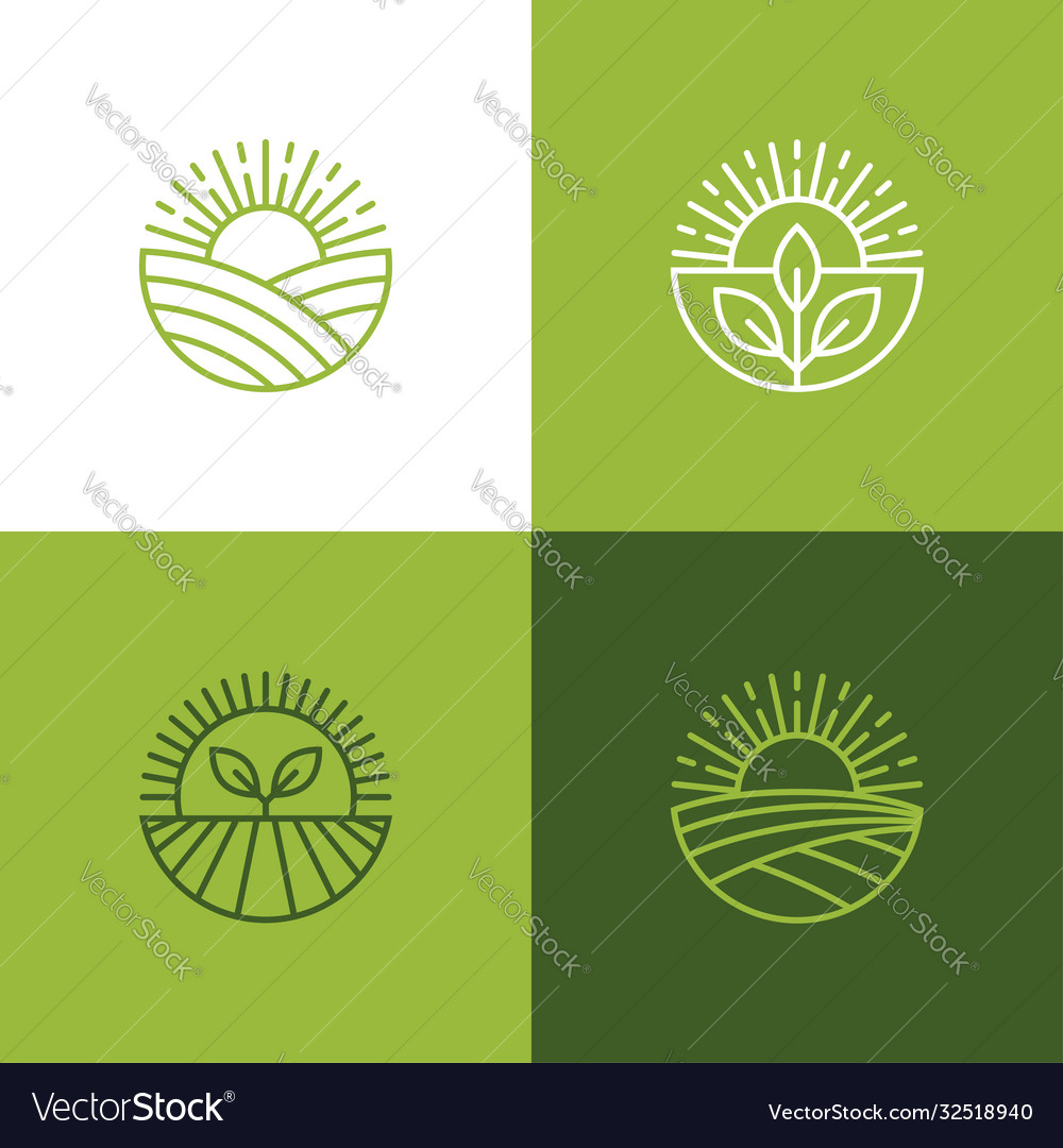 Agriculture and farming linear logo set