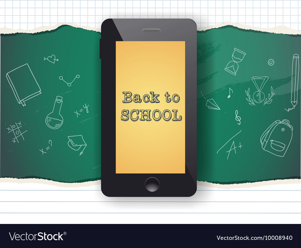 Back to school sale design Mobile phone and vector image
