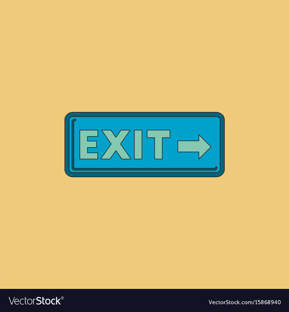 Exit way sign in flat style