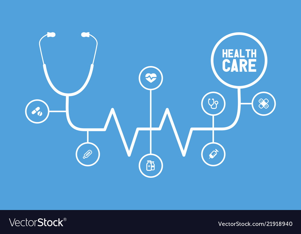 Flat line design infographic healthcare banner