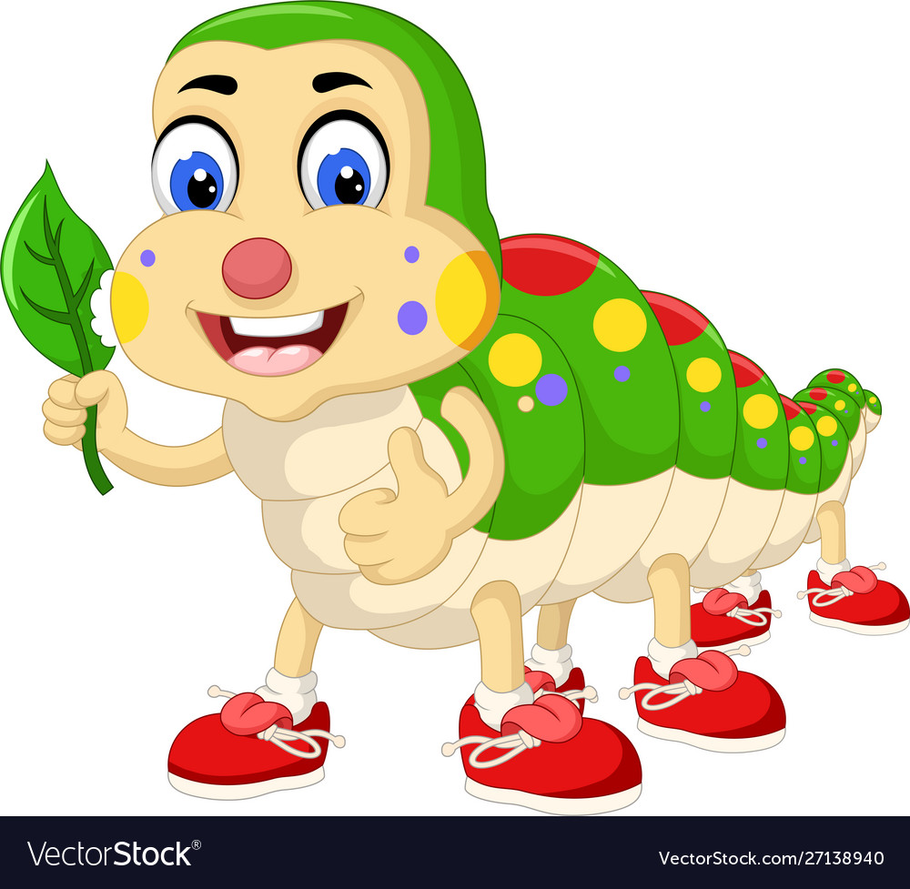 Funny Colorful Caterpillar In Red Shoes Cartoon Vector Image