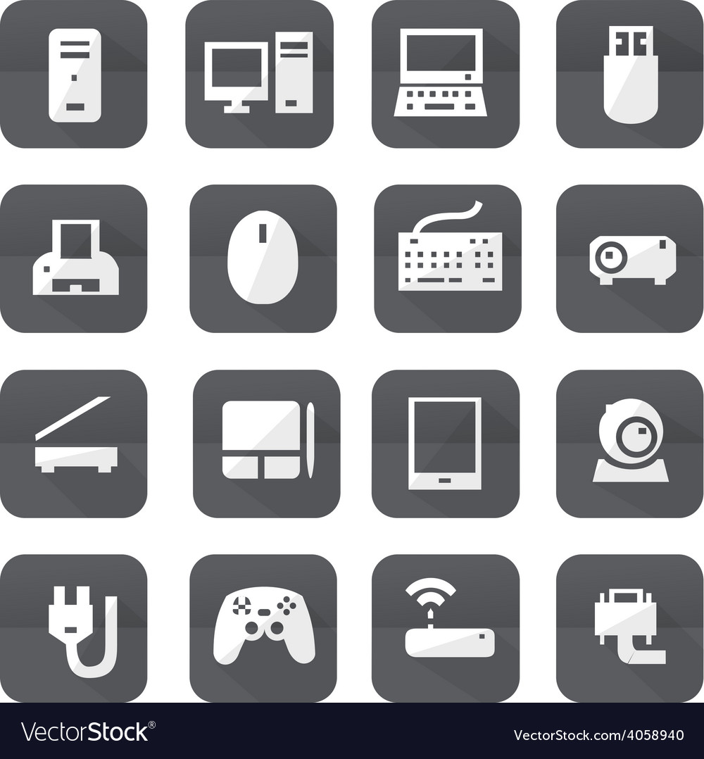 Gray computers device icons