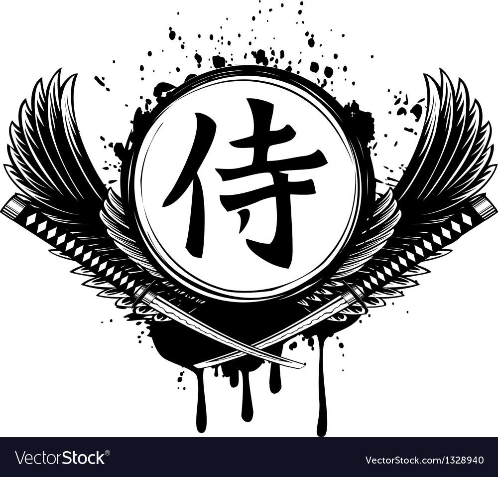 Hieroglyph samurai wings and crossed samurai
