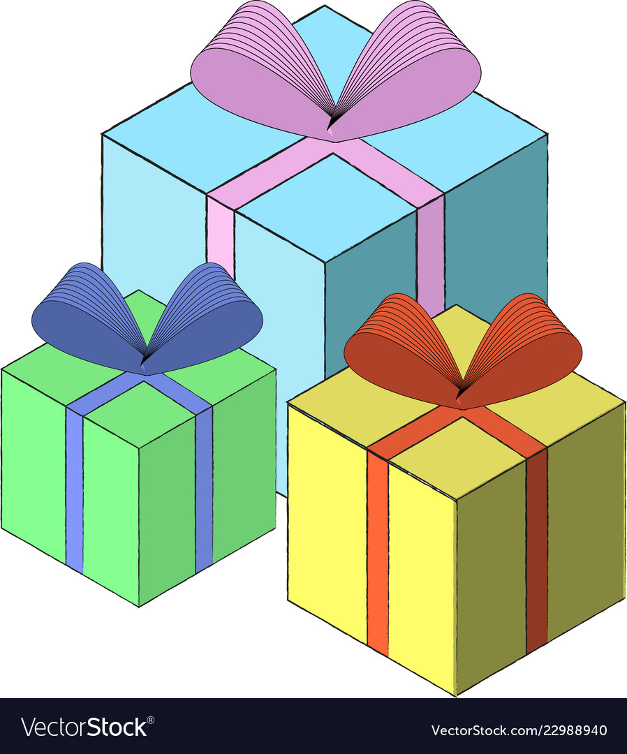 Isometric Gift Box Template Eps10 Royalty Free Vector Image