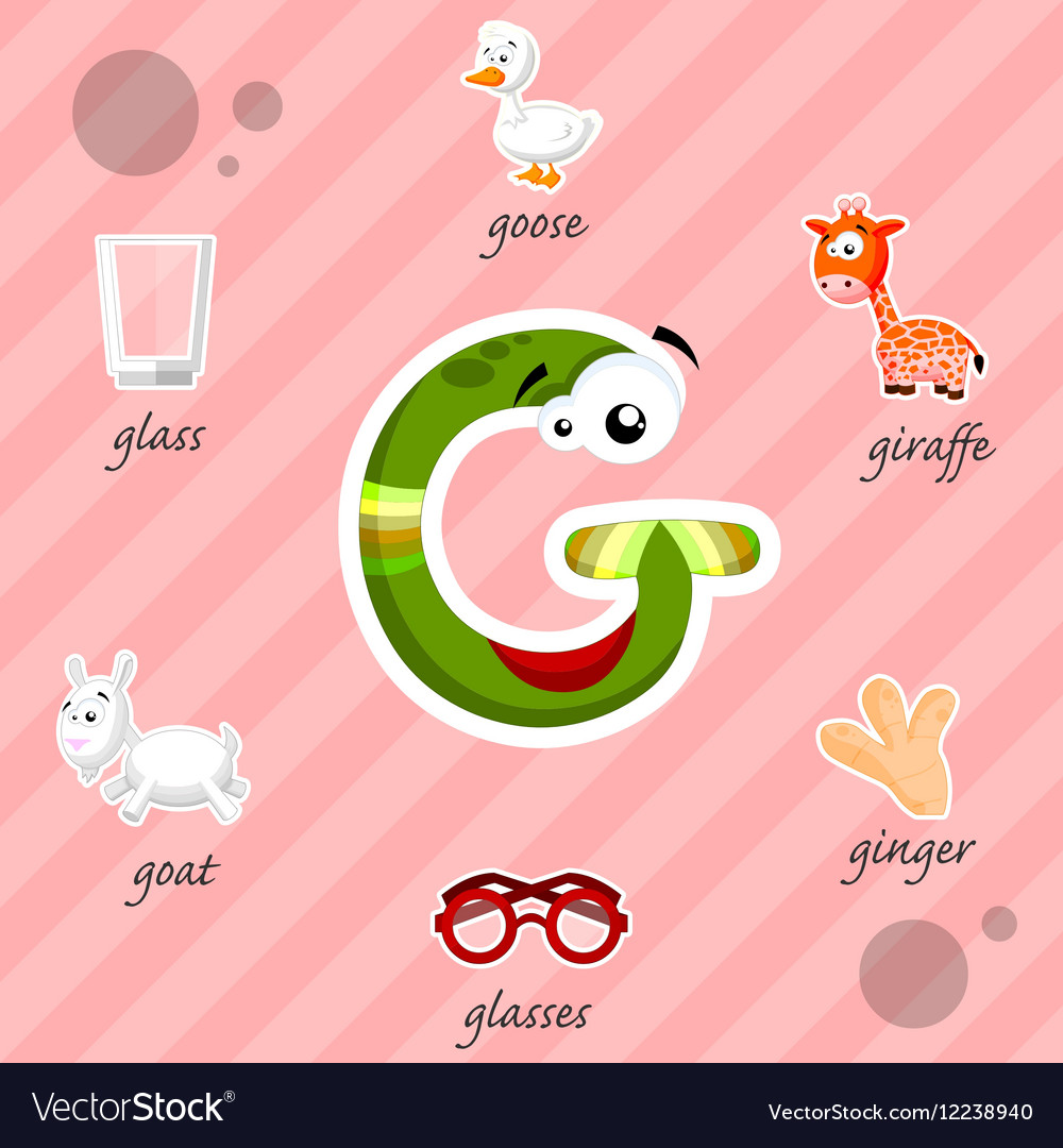Letter G With Words Royalty Free Vector Image Vectorstock