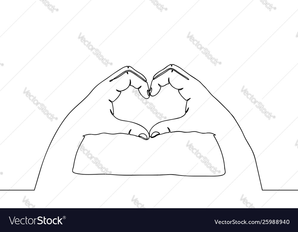 One line hands in love gesture continuous line