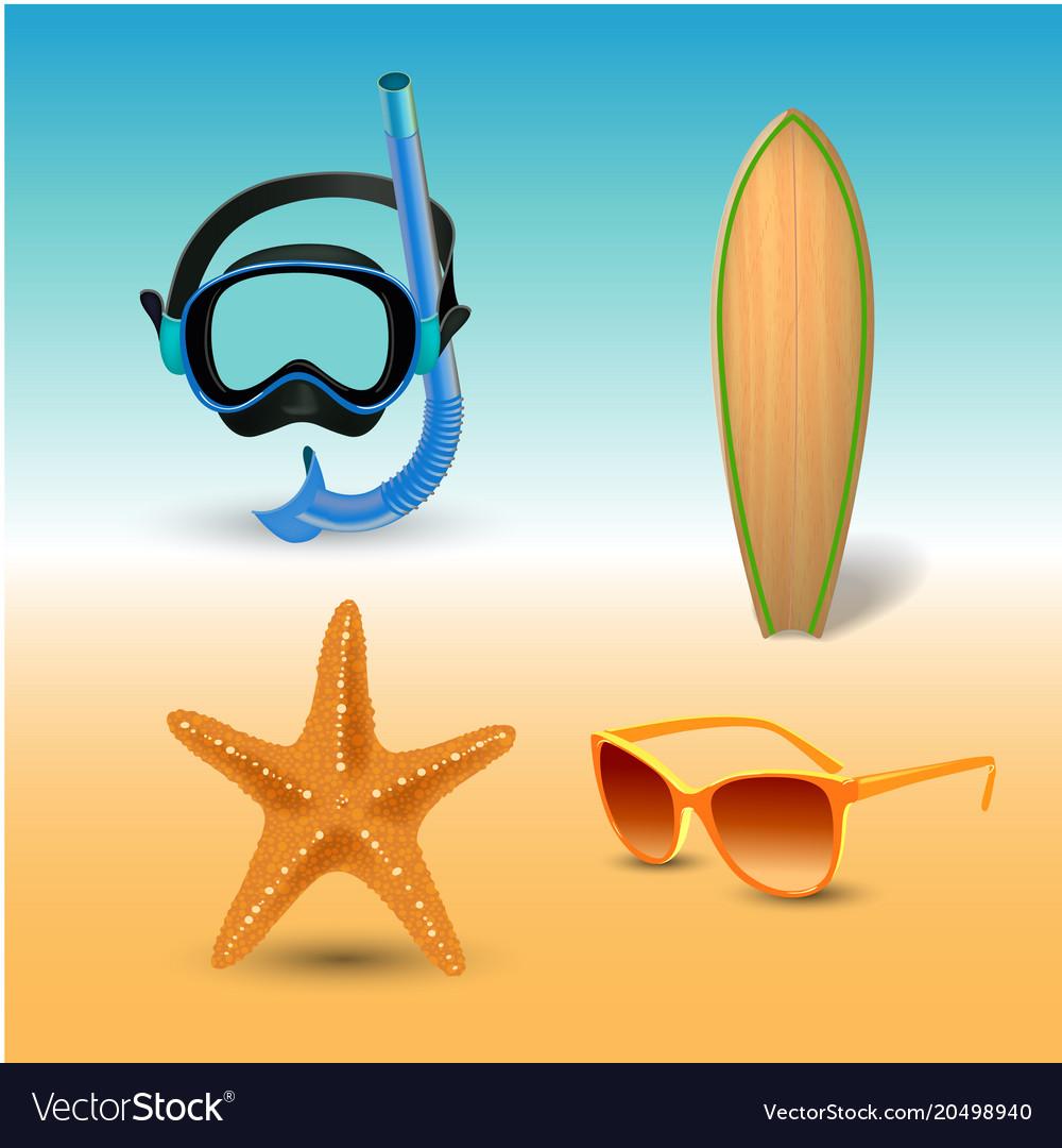 Realistic summer holidays seaside beach icons set
