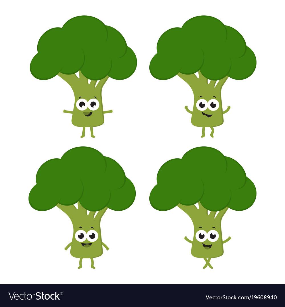 set with cartoon broccoli royalty free vector image vectorstock