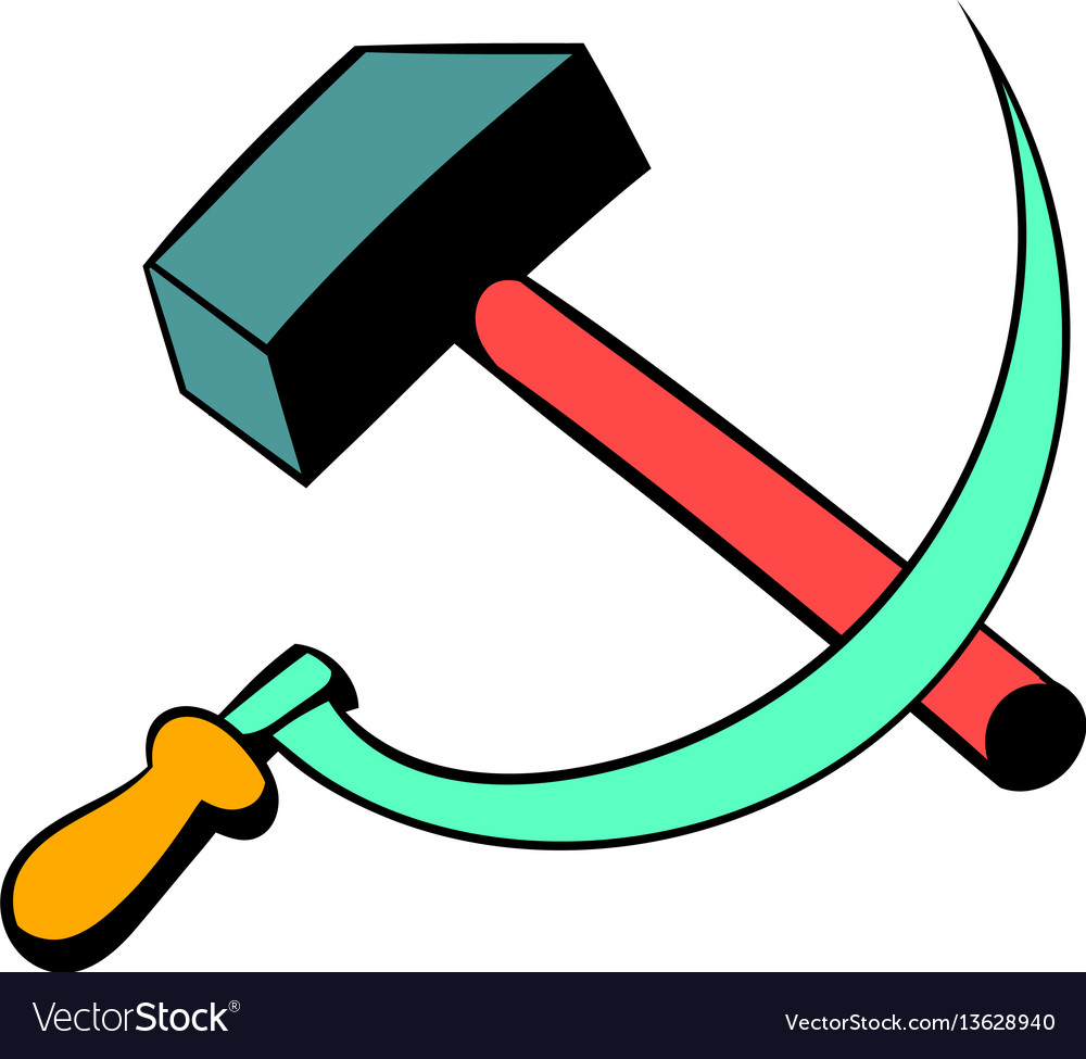 Sickle and the hammer icon cartoon vector image