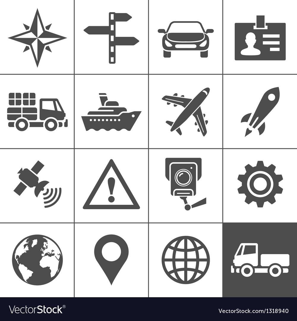 Transportation icons set Simplus series