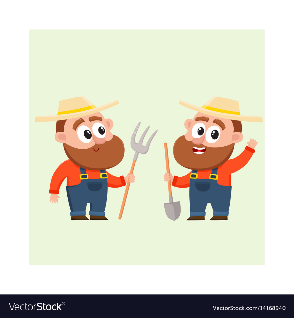 Two funny farmer characters in overalls holding