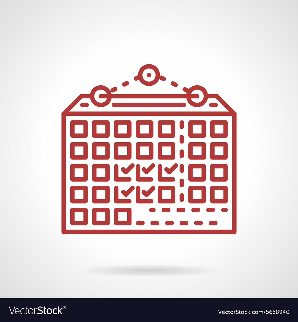 Wall calendar red line icon vector image