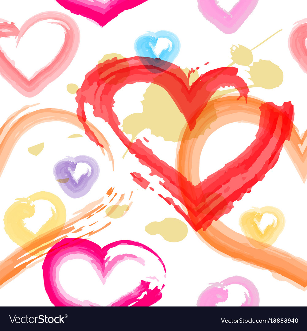 Watercolor painted hearts seamless pattern