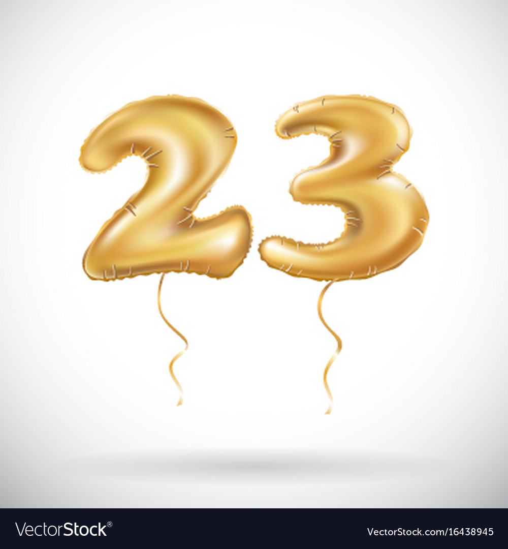 23 Birthday Celebration With Gold Balloons And Vector Image