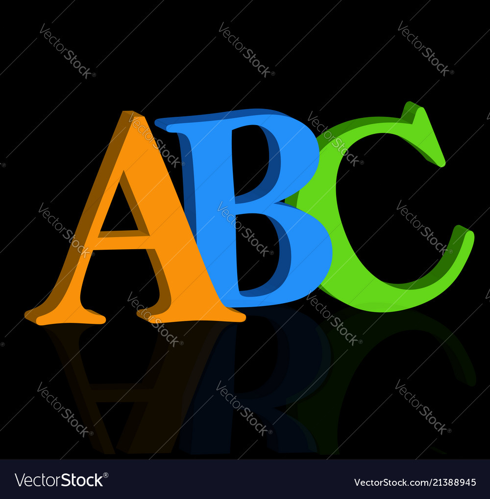 Abc letters on black background