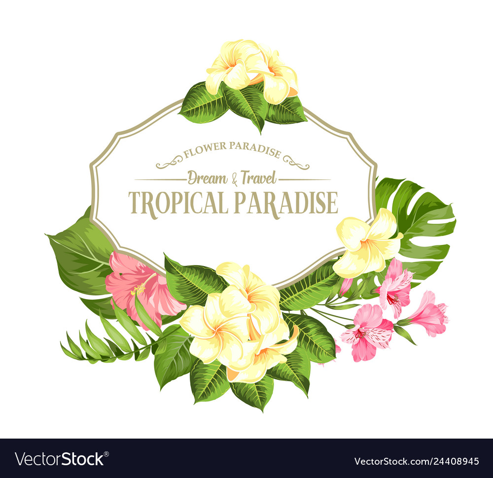 Beautiful card with a wreath tropical flowers