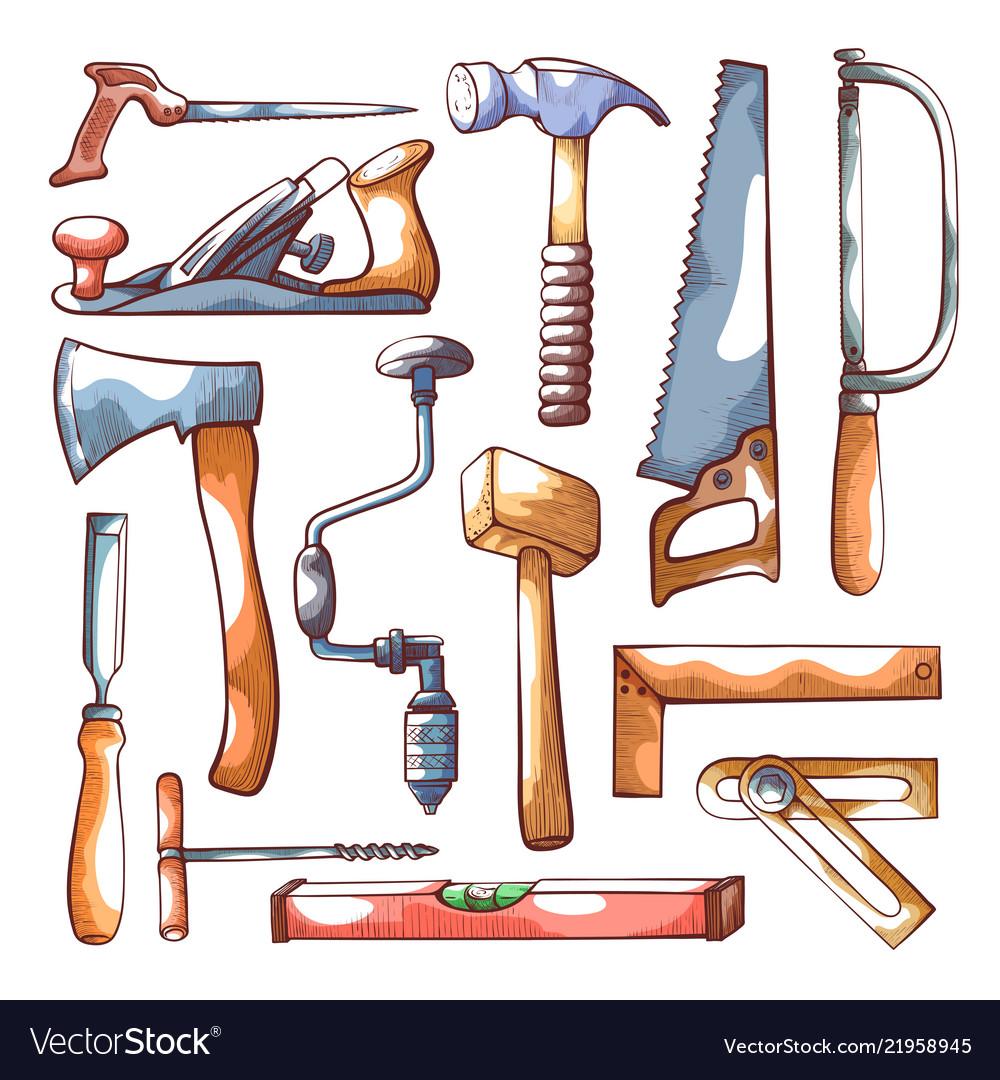Carpentry tools hand drawn set on white
