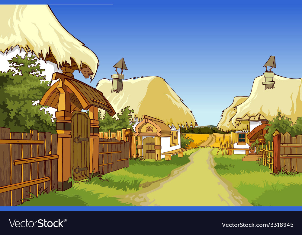 Cartoon Village Street With Houses Royalty Free Vector Image